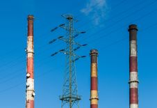 Heat And Power Plant Chimneys. Royalty Free Stock Photo