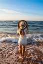 Free Young Woman Standing  In Sea Looking Ahead Stock Photography - 29834052