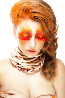 Free Fiery Stylized Woman With Closed Eyes. Red False Lashes. Creative Make Up Stock Photography - 29844202