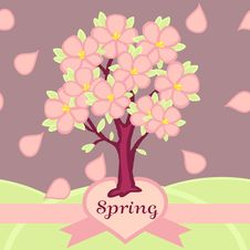 Blossoming Tree In The Spring. Seamless Pattern Royalty Free Stock Images