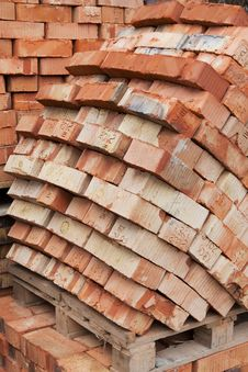 Bricks For Next Building On Wooden Pallet Stock Images