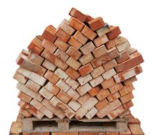 Free Bricks For Next Building On Wooden Pallet Stock Photography - 29847362