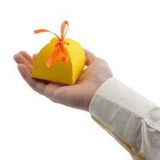 Free Man S Hand Holding Gift Paper Box Stock Image - 29847561