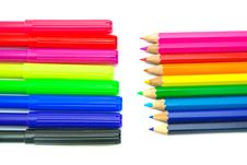 Free Two Stacks Colorful Of Pencils And Markers Royalty Free Stock Images - 29853909