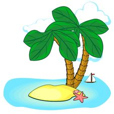 Two Palms And Island Stock Images