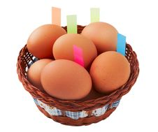 Free Easter Egg With Stickers In Basket Stock Image - 29854931