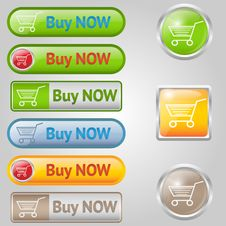 Free Shiny, Stylish Buy Buttons With Cart Royalty Free Stock Images - 29855089