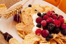 Breakfast With Fresh Berries Stock Photos