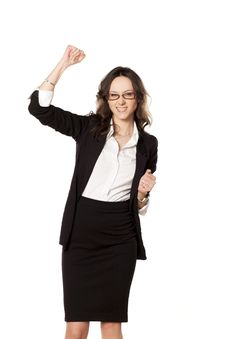 Business Woman Exulting Stock Image