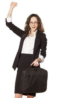 Business Woman Exulting Stock Photography