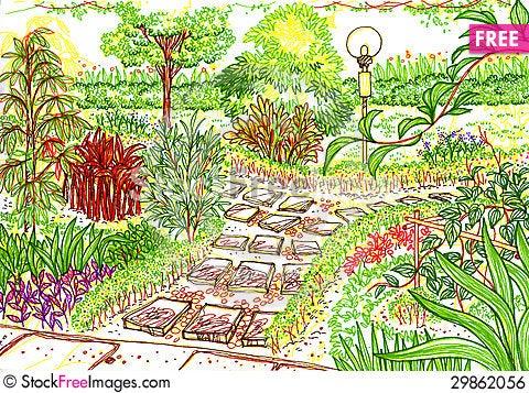 Free Garden Sketch Royalty Free Stock Image - 29862056