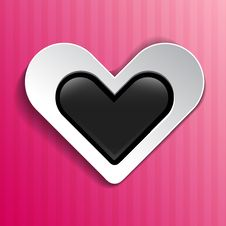 Free Heart On Pink Striped Background Royalty Free Stock Images - 29861799