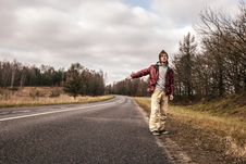 Free Man Hailing On A Roadside Of The Road Stock Photography - 29869172