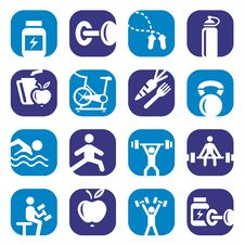 Color Bodybuilding Icons Set Royalty Free Stock Photo