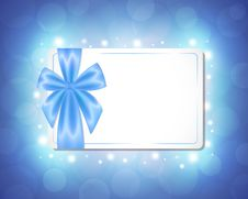 Free Card With A Blue Ribbon Stock Images - 29889344
