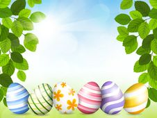 Card By Easter With Beautiful Eggs Royalty Free Stock Photo