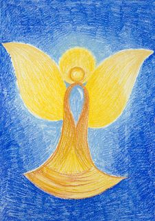 Free Hand Drawn Illustration Of Beautiful Golden Angel Royalty Free Stock Photography - 29892617
