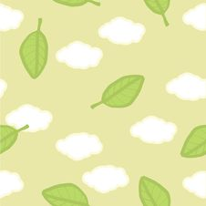 Seamless Vector Pattern. Summer Clouds And Leaves Stock Photo