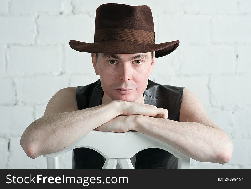 Attractive man in brown hat