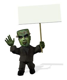 Free Cartoon Frankenstein With Sign Royalty Free Stock Image - 2990436