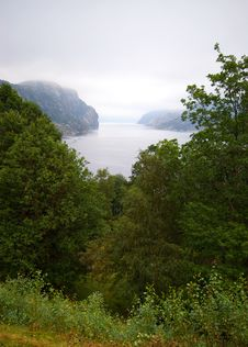 Foggy Fjord. Royalty Free Stock Photo