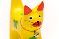 Free Wooden Yellow Kitten Close Up Stock Images - 2993374