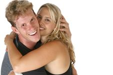 Couple Hugging Smiling Royalty Free Stock Photo