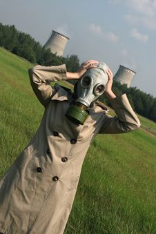 Girl In A Gas Mask Stock Image