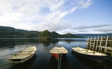 Three Boats In Fjord Stock Photos