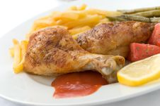 Free Chicken Legs With Asparagus Royalty Free Stock Photography - 2996207
