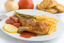 Free Chicken Legs With Asparagus Royalty Free Stock Image - 2996216