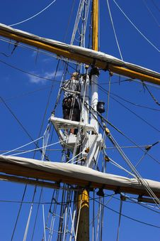 Sailor Up In The Crows Nest Stock Images