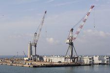 Loading Cranes On Dockside