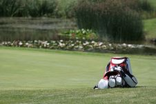 Golf Bag And Set Of Clubs Stock Photo