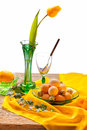 Free Retro Still Life With Eggs And Tulip Stock Image - 29904431