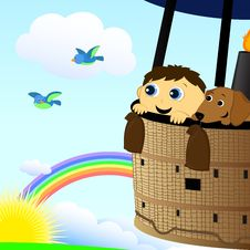Boy And Dog In A Hot Air Balloon Royalty Free Stock Images