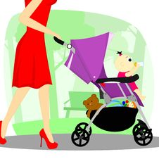 Baby In A Stroller Stock Images