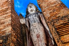 Free Large Standing Stone Buddha In Sukhothai Historical Park, Thaila Stock Photo - 29901350