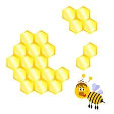Free Cartoon Happy Bee With Honeycomb Royalty Free Stock Photos - 29904838