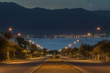 Just Before Dawn, Eilat, Israel Stock Photo