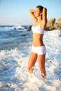 Free Woman In The Sea Waves Royalty Free Stock Image - 29914726