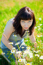 Free Woman Smelling Camomiles Stock Photos - 29919613
