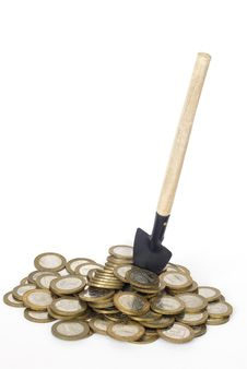 Free Coins And Shovel Royalty Free Stock Image - 29910736