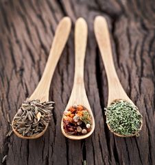 Free Variety Of Spices In The Spoons. Stock Image - 29914661