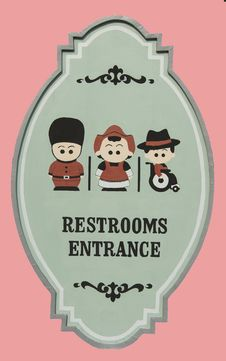Restroom Entrance Sign Isolated On Pink Background Royalty Free Stock Image