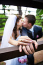 Free Romantic Kiss Bride And Groom Royalty Free Stock Photography - 29927437
