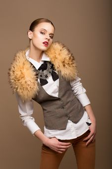 Free Portrait Of Perfect Arrogant Woman In Grey Waistcoat And Fur Collar Stock Photography - 29922692