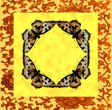 Butterfly Frame In The Center Of An Abstract Flora Stock Photography