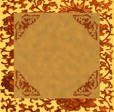 Free Vintage Floral Background With A Grunge Brown Butt Royalty Free Stock Photography - 29922877