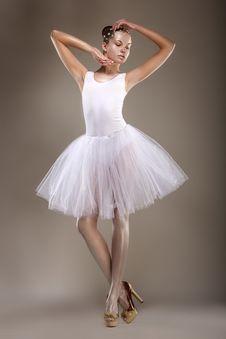 Free Ballet. Graceful Ballerina In White Light Tutu - Performance. Fantasy Royalty Free Stock Photo - 29922895